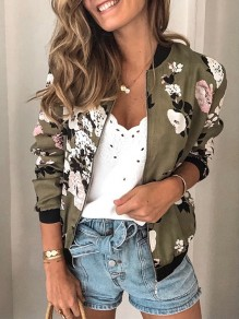 Green Floral Zipper Print Round Neck Long Sleeve Fashion Outerwear
