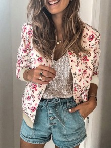 Pink Floral Zipper Print Round Neck Long Sleeve Fashion Outerwear