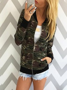 Green Camouflage Zipper Round Neck Long Sleeve Fashion Outerwea