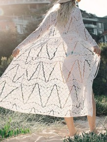 White Lace Drawstring Long Sleeve Elegant Beach Cardigan Bikini Cover Up