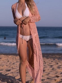 Pink Lace Drawstring Long Sleeve Elegant Beach Cardigan Bikini Cover Up