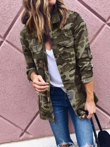 Camouflage Buttons Pockets Turndown Collar Long Sleeve Outerwear