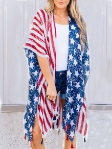 White Patchwork Tassel American Flag Print Grenadine Independence Day Cover Up Cape Outerwear