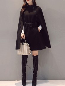 Black Belt Pockets Buttons Band Collar Elegant Cape Wool Coat