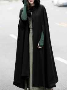 Black Buttons Sleeveless Oversize Fashion Halloween Cape Cloak Hooded Coat
