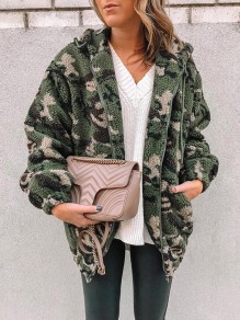 Green Camouflage Pockets Zipper Drawstring Turndown Collar Long Sleeve Teddy Camo Coat