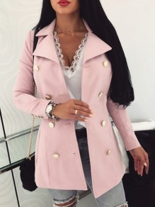 Pink Pockets Double Breasted Turndown Collar Long Sleeve Blazer Wool Coat