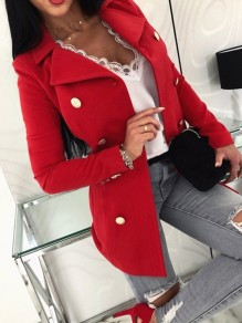 Red Pockets Double Breasted Turndown Collar Long Sleeve Blazer Wool Coat