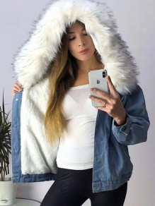 Blue White Faux Fur Pockets Buttons Hooded Long Sleeve Jeans Coats