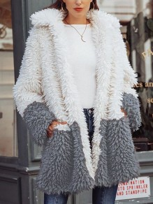 Grey White Patchwork Pockets Turndown Collar Long Sleeve Oversize Teddy Coat