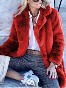 Red Faux Fur Turndown Collar Long Sleeve Fashion Oversize Fluzzy Coat