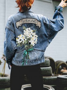 Blue Embroidery Ripped Pocket Turndown Collar Long Sleeve Fashion Denim Jean Jacket