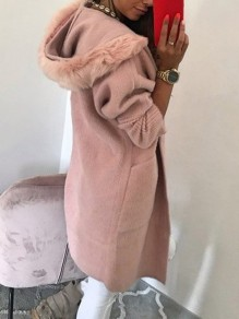 Pink Fur Button Turndown Collar Long Sleeve Elegant Coat