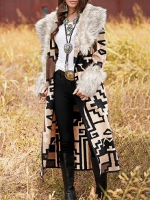 Apricot Floral Geometric Aztec Print Fur Collar Long Sleeve Boho Country Casual Cardigan Coat