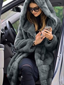 Grey Faux Fur Pocket Hooded Long Sleeve Elegant Coat