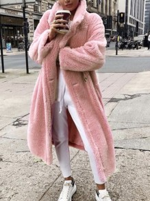 Pink Pockets Buttons Turndown Collar Long Sleeve Oversize Faux Fur Teddy Jacket Coat