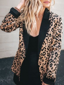 Khaki Leopard Buttons Turndown Collar Long Sleeve Blazer Coat