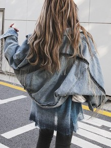 Blue Tassel Pockets Buttons Turndown Collar Long Sleeve Boyfriend Oversize Denim Jeans Coat