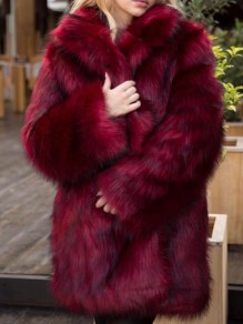 Burgundy Faux Fur Band Collar Long Sleeve Fashion Oversize Coat