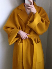 Mustard Yellow Sashe Pocket Turndown Collar Long Sleeve Elegant Wool Coat