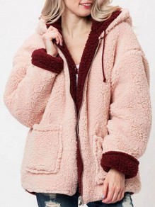 Burgundy Pink Pockets Zipper Drawstring Hooded Long Sleeve Oversize Teddy Coat