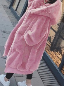 Pink Pockets Zipper Hooded Long Sleeve Fluffy Faux Fur Thick Coat Outerwear