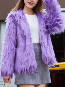 Lavender Faux Fur Long Sleeve Fashion Oversize Hooded Coat