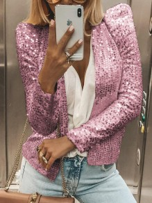 Pink Sequin Band Collar Long Sleeve Elegant Blazer