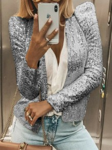 Silver Sequin Band Collar Long Sleeve Elegant Blazer
