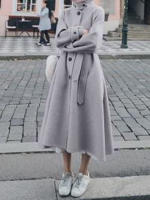 Grey Button Pocket Band Collar Long Sleeve Elegant Wool Coat