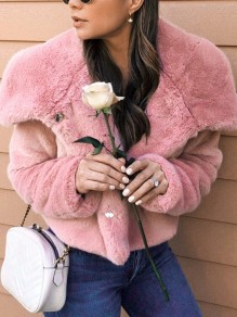 Pink Faux Fur Buttons Turndown Collar Long Sleeve Fashion Oversize Jacket Coat