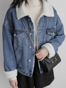 Blue Pockets Single Breasted Turndown Collar Long Sleeve Lambswool Jeans Coat