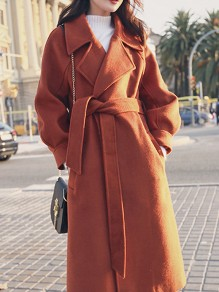 Brown Pockets Buttons Sashes Turndown Collar Long Sleeve Wool Coat