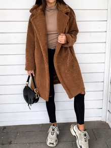 Brown Faux fur Button Turndown Collar Long Sleeve Oversize Teddy Coat