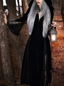 Black Patchwork Lace Cut Out Single Breasted Hooded V-neck Flare Long Sleeve Rosatic Witch Gothic Halloween Cloak Long Outerwear