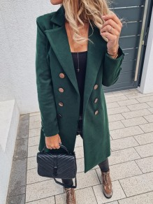 Emerald Green Double Breasted Turndown Collar Long Sleeve Elegant Wool Coat