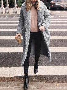 Grey Pockets Buttons Turndown Collar Long Sleeve Fashion Oversize Teddy Coat