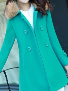 Green Button Fur Turndown Collar Long Sleeve Elegant Wool Coat
