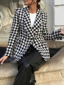 Black White Houndstooth Double Breasted Turndown Collar Elegant Wool Coat