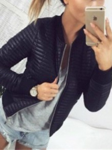 Black Zipper Round Neck Long Sleeve Fashion Jacket