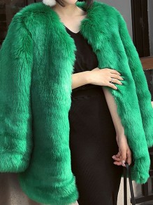 Grün Faux Fur Langarm Warme Fellimitat Dicke Pelzmantel Wintermantel Damen Mode
