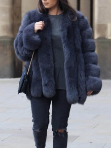 Blue Grey Faux Fur Round Neck Long Sleeve Fashion Oversize Coat