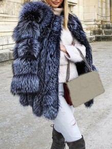 Silver-Blue Faux Fur Round Neck Long Sleeve Fashion Oversize Coat