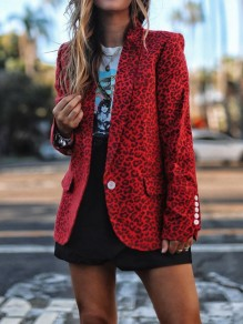Red Leopard Print Pockets Buttons Turndown Collar Long Sleeve Blazer Coat