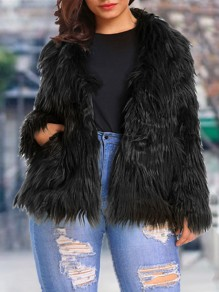 Black Pockets Tassel Long Sleeve Faux Fur Plus Size Jacket Fluffy Coat Outerwear
