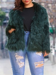 Green Pockets Tassel Long Sleeve Faux Fur Plus Size Jacket Fluffy Coat Outerwear