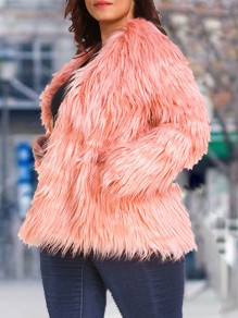 Peach Pink Pockets Tassel Long Sleeve Faux Fur Plus Size Jacket Fluffy Coat Outerwear