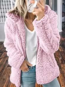 Pink Zipper Pocket Hooded Long Sleeve Oversize Teddy Coat