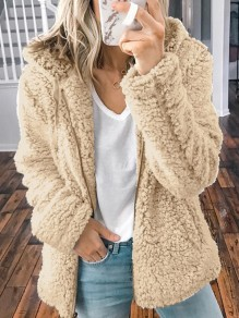 Khaki Zipper Pocket Hooded Long Sleeve Oversize Teddy Coat