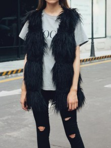 Black Pockets Faux Fur Bubble Cardigan Vest Coat